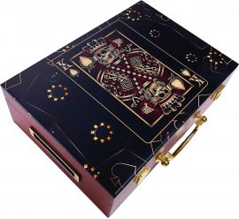 Premium Poker Case - Suicide King - Mahogany Wood - Left Side View