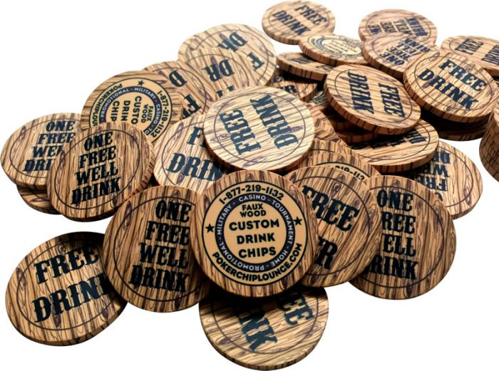 Custom Drink Tokens Faux Wood Style Front Shot