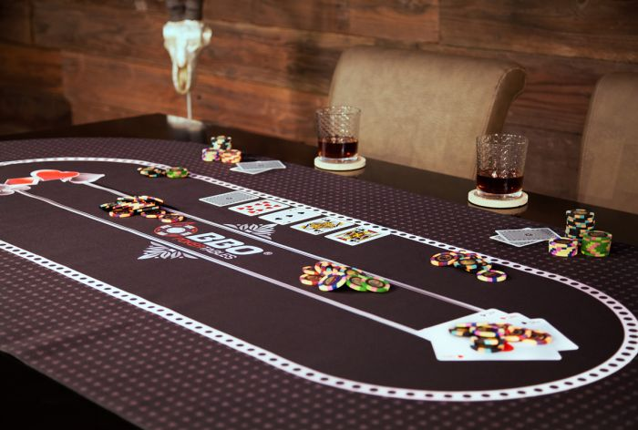 70'' Black Portable Poker Table Layout with Rubber Grip