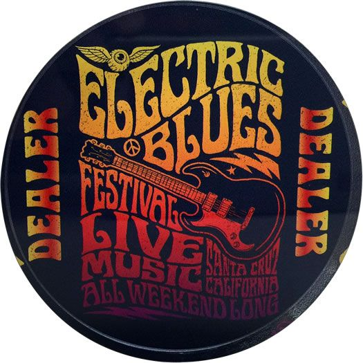 Crystal Poker Dealer Button Chip Top View - Electric Blues Festival