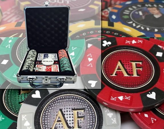 Custom Printed Aluminum Poker Chip Set with 14 Gram Clay Ace King & Suits Poker Chips - 100 Chips