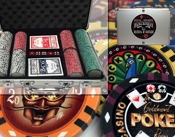Custom Printed Aluminum Poker Chip Set with 13 Gram Clay Infinity Poker Chips - 200 Chips
