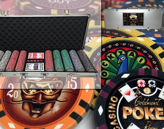 Custom Printed Aluminum Poker Chip Set with 13 Gram Clay Infinity Poker Chips - 500 Chips