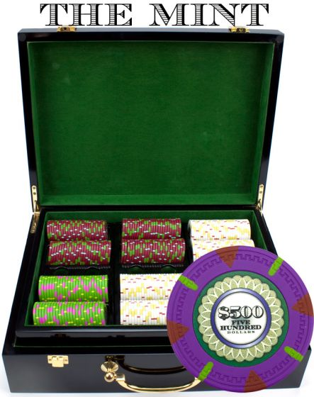 The Mint 13.5 Gram Clay Poker Chips in Wood Hi Gloss Case - 500 Ct.
