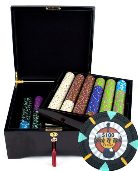 Rock & Roll 13.5 Gram Clay Poker Chips in Wood Mahogany Case - 750 Ct.
