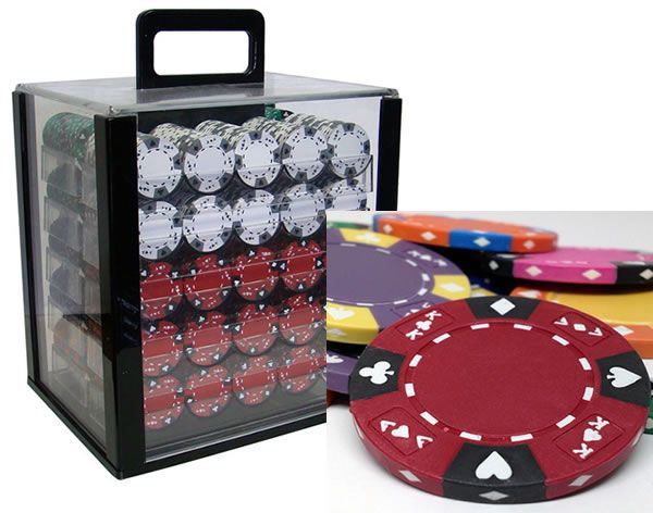 Ace King Suited 14 Gram Clay Poker Chips in Acrylic Carrier - 1000 Ct.