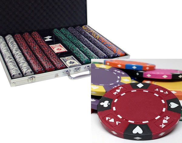 Ace King Suited 14 Gram Clay Poker Chips in Standard Aluminum Case - 1000 Ct.