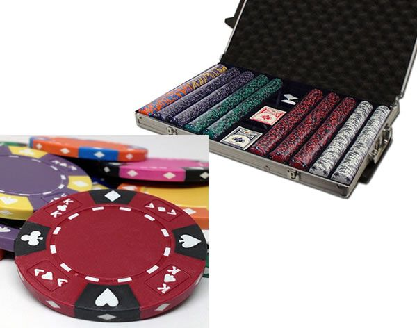 Ace King Suited 14 Gram Clay Poker Chips in Rolling Aluminum Case - 1000 Ct.