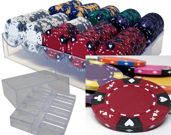 Ace King Suited 14 Gram Clay Poker Chips in Acrylic Trays - 200 Ct.