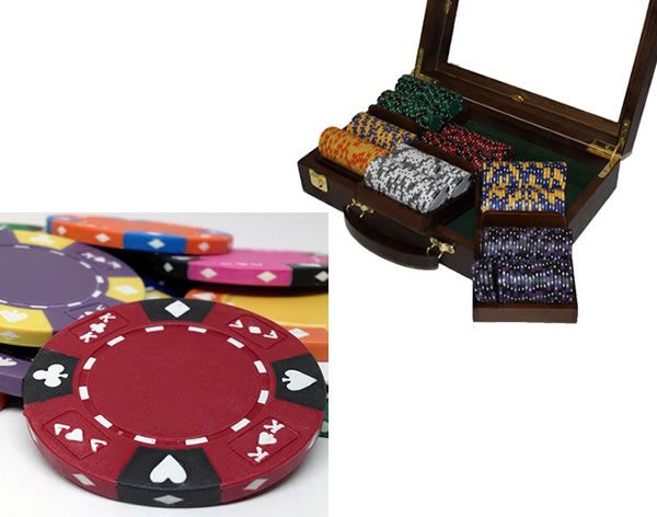 Ace King Suited 14 Gram Clay Poker Chips in Wood Walnut Case - 300 Ct.