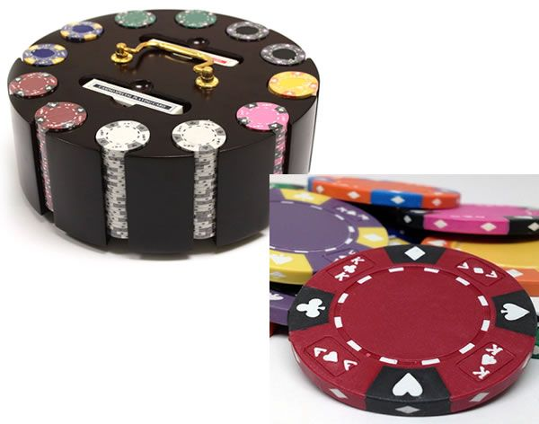 Ace King Suited 14 Gram Clay Poker Chips in Wood Carousel - 300 Ct.
