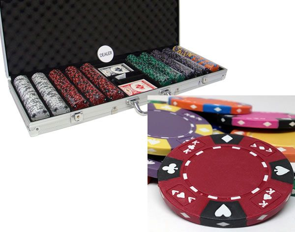 Ace King Suited 14 Gram Clay Poker Chips in Standard Aluminum Case - 500 Ct.