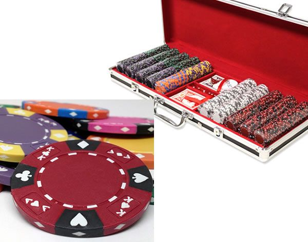 Ace King Suited 14 Gram Clay Poker Chips in Black Aluminum Case - 500 Ct.