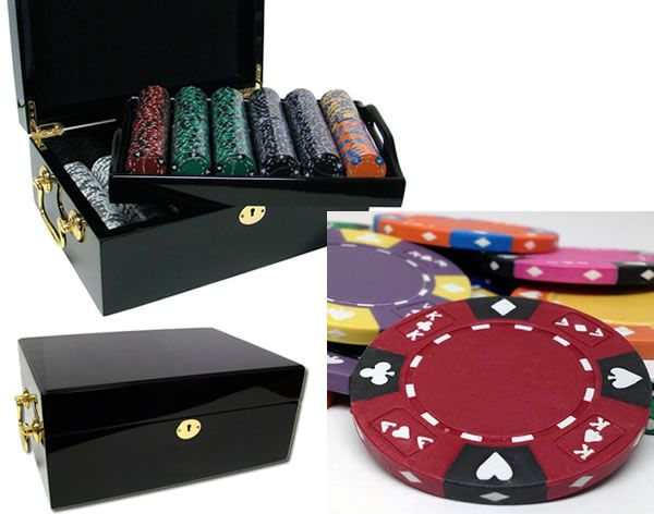 Ace King Suited 14 Gram Clay Poker Chips in Wood Black Mahogany Case - 500 Ct.