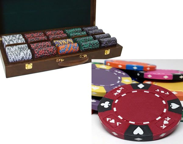 Ace King Suited 14 Gram Clay Poker Chips in Wood Walnut Case - 500 Ct.