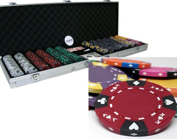 Ace King Suited 14 Gram Clay Poker Chips in Aluminum Case - 600 Ct.