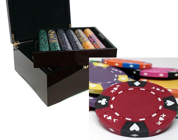 Ace King Suited 14 Gram Clay Poker Chips in Wood Mahogany Case - 750 Ct.