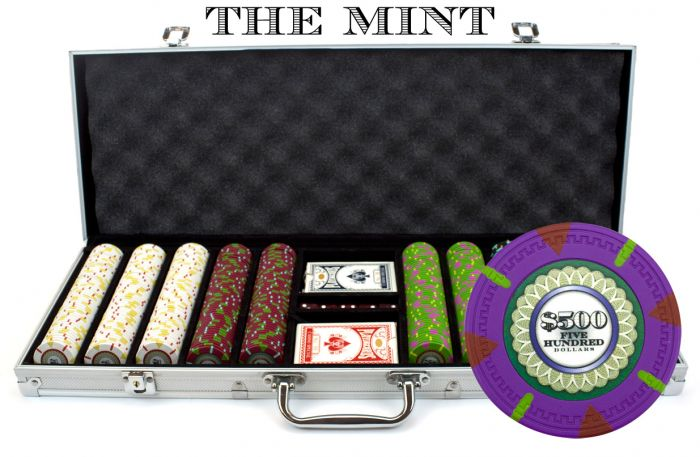 The Mint 13.5 Gram Clay Poker Chips in Standard Aluminum Case - 500 Ct.