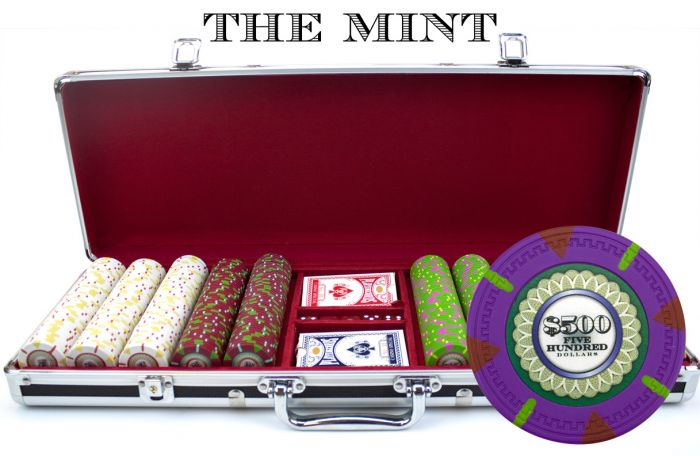 The Mint 13.5 Gram Clay Poker Chips in Black Aluminum Case - 500 Ct.