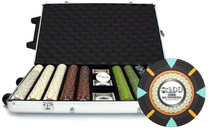 The Mint 13.5 Gram Clay Poker Chips in Rolling Aluminum Case - 1000 Ct.