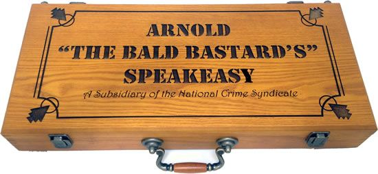 Arnold's - Custom Engraved 500 Capacity Oak Wood Case With Black Color Fill