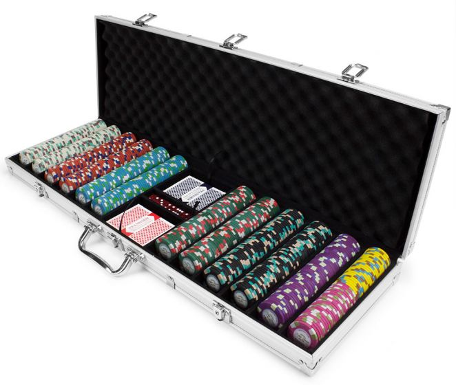 Monaco Club 13.5 Gram Clay Poker Chip Set in Aluminum Case - 600 Count