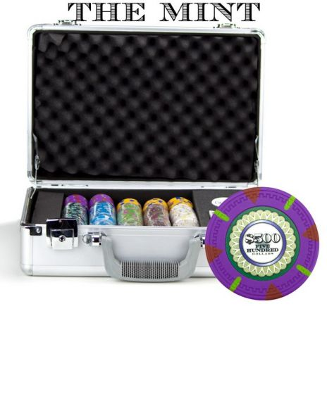 The Mint 13.5 Gram Clay Poker Chips in Deluxe Aluminum Case - 300 Ct.