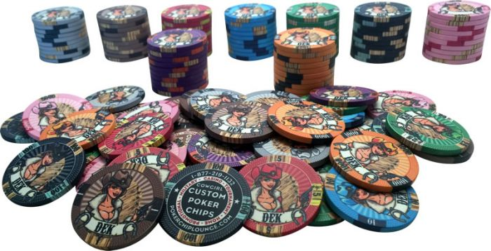 10 Gram Ceramic Custom Poker Chips - Semi Custom - Cowgirl Sample Pack - 9 Chips