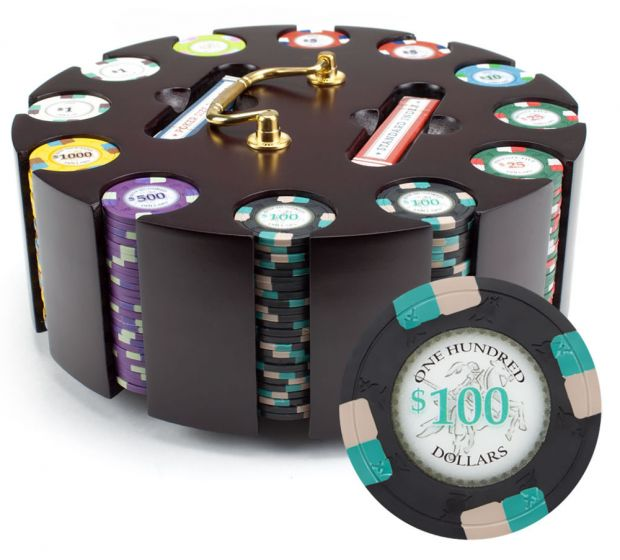 Poker Knights 13.5 Gram Clay Poker Chip Set in Wood Carousel - 300 Count
