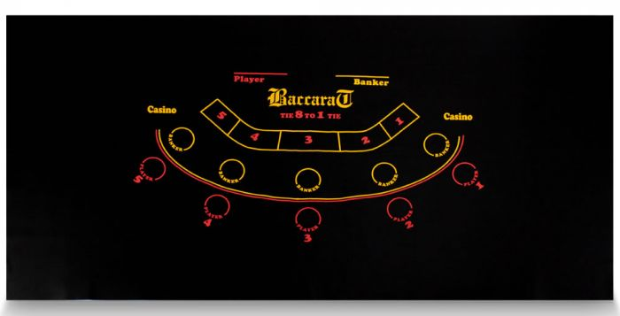 Black Mini Baccarat Casino Table Felt Layout