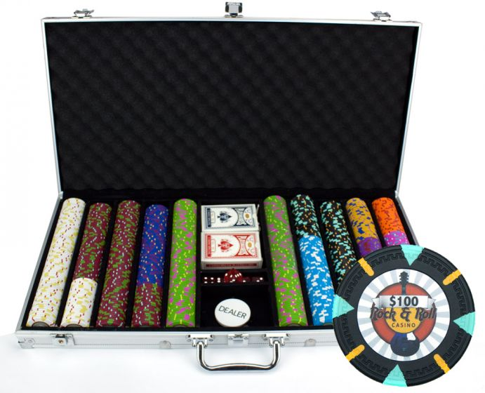 Rock & Roll 13.5 Gram Clay Poker Chips in Aluminum Case - 750 Ct.
