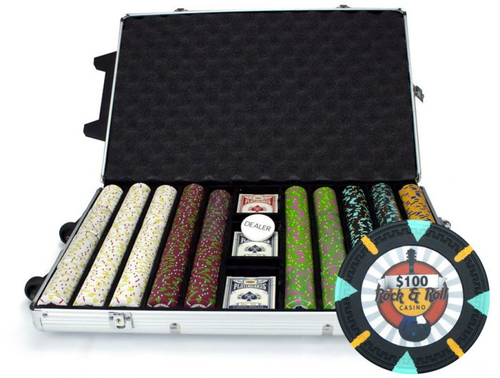 Rock & Roll 13.5 Gram Clay Poker Chips in Rolling Aluminum Case - 1000 Ct.
