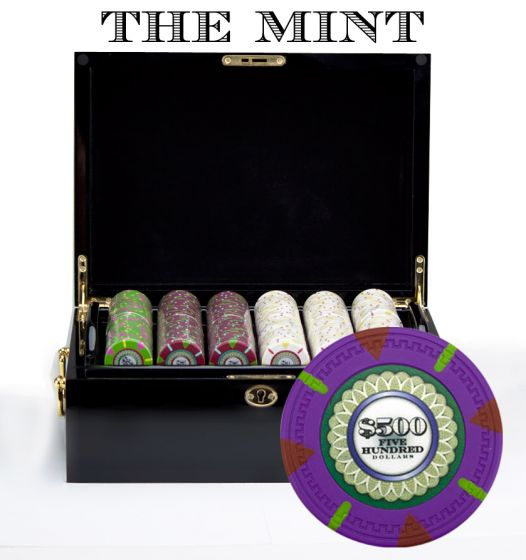 The Mint 13.5 Gram Clay Poker Chips in Wood Black Mahogany Case - 500 Ct.