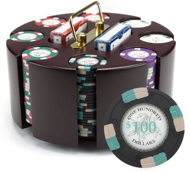 Poker Knights 13.5 Gram Clay Poker Chip Set in Wood Carousel - 200 Count