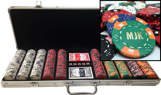 Custom Hot Stamped Poker Set In Aluminum Case